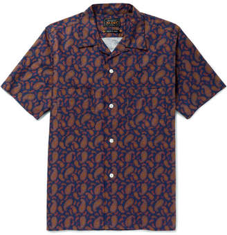 Beams Camp-Collar Paisley-Print Cotton Shirt