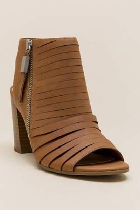 francesca's Edna Peep Toe Block Heel - Cognac