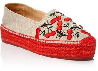 Castaner Women's Kenda Merlion Park Embroidered Platform Espadrille Flats
