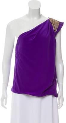 Robert Rodriguez One-Shoulder Embellished Blouse