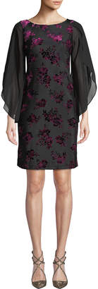 Donna Ricco Velvet Burnout Floral Split-Sleeve Shift Dress