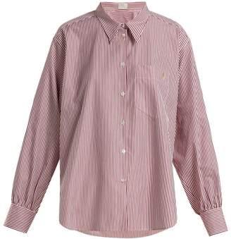 Hillier Bartley - Oversized Striped Cotton Shirt - Womens - Burgundy Stripe