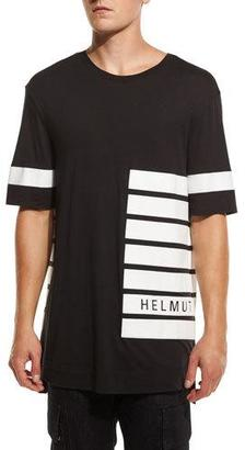 Helmut Lang Striped Oversized Logo T-Shirt, Black $160 thestylecure.com