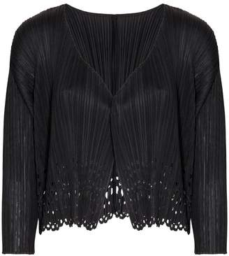 Pleats Please Issey Miyake Sheer Laser Cut Cardigan