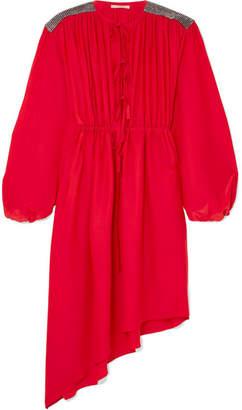 Christopher Kane Crystal Embellished Crepe De Chine Midi Dress - Red