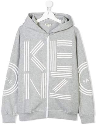 Kenzo TEEN logo print zip-up hoodie