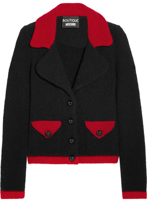 Boutique Moschino - Two-tone Wool-blend Bouclé Jacket - Black $750 thestylecure.com