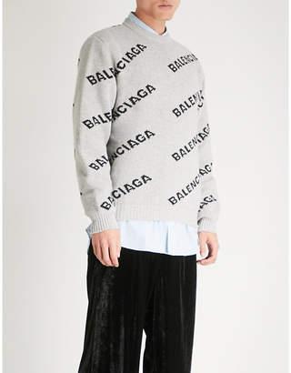 Balenciaga Mens Grey and Black Logo-Intarsia Wool-Blend Sweater