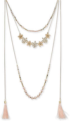 "INC International Concepts I.n.c. Gold-Tone Flower, Bead & Tassel Multi-Layer Necklace, 34"" + 3"" extender"