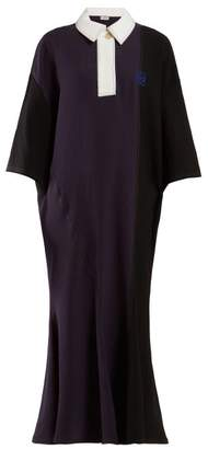 Loewe Embroidered Logo Panelled Jersey Dress - Womens - Black Navy