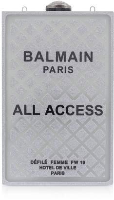 Balmain Hologram Plexiglass All Access Minaudiere Clutch W/chain Strap
