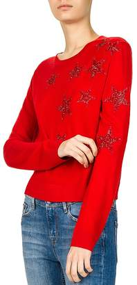 The Kooples Sparkling Star-Embroidered Sweater