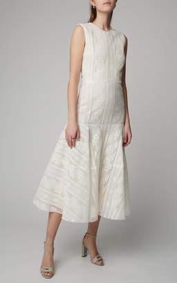 Giambattista Valli Tiered A-Line Cotton Blend Midi Dress