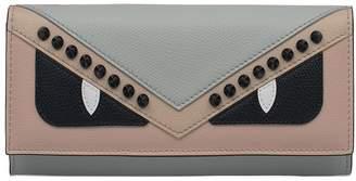Fendi Light Blue/beige Saffiano Leather Wallet