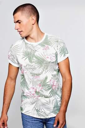 boohoo Floral Palm Print Mesh Longline Curved Hem T-Shirt
