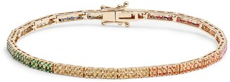 Ef Collection Double Row Rainbow Diamond Eternity Bracelet