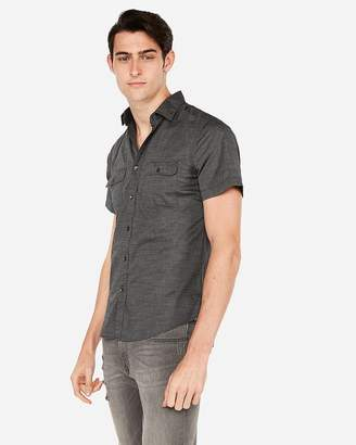 Express Slim Chambray Short Sleeve Shirt