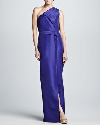 J. Mendel Layered Gazar One-Shoulder Gown, Iris