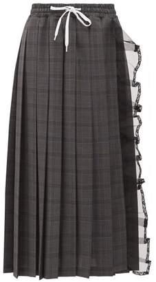 Miu Miu Tulle Trim Pleated Checked Wool Skirt - Womens - Dark Grey