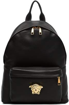 Versace black Medusa lead leather backpack