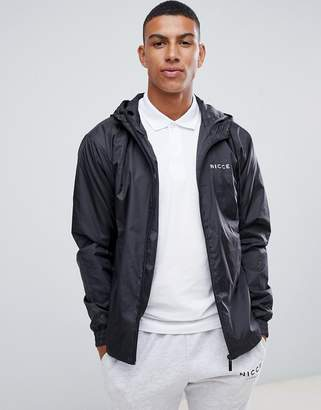 Nicce London lightweight jacket in black with hood