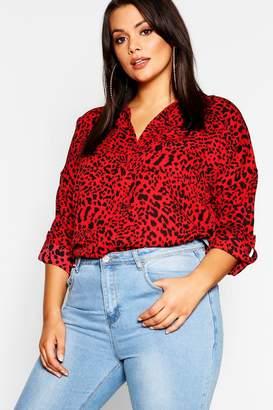 boohoo Plus Red Leopard Oversized Shirt