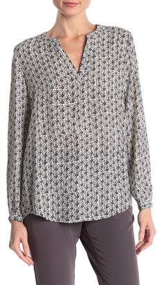 Adrianna Papell Printed Split V-Neck Long Sleeve Blouse