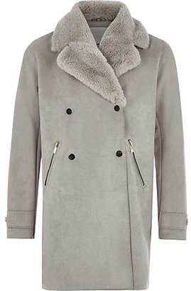 River Island Girls Grey suede faux fur collar coat