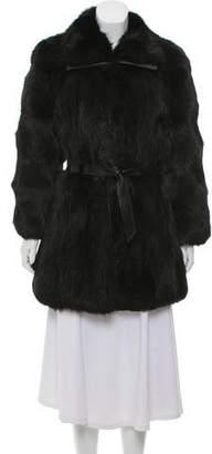 Balenciaga Fox Fur Leather-Trimmed Coat