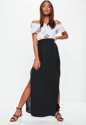 Missguided Black Double Split Maxi Skirt