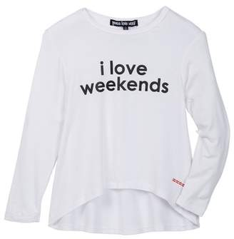Peace Love World I Love Weekends Long Sleeve Hi-Lo Shirt (Little Girls)