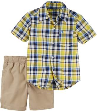 Carter's Toddler Boy 2-pc. Plaid Shirt & Shorts Set