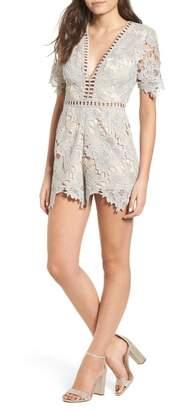 ASTR the Label Short Sleeve V-Neck Lace Romper