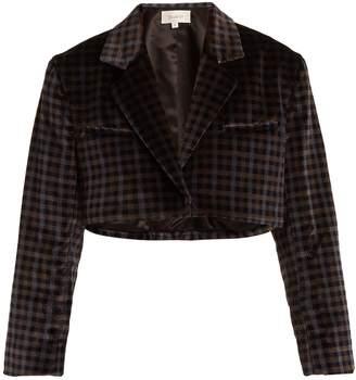 Isa Arfen Tartan-checked cotton-velvet cropped jacket