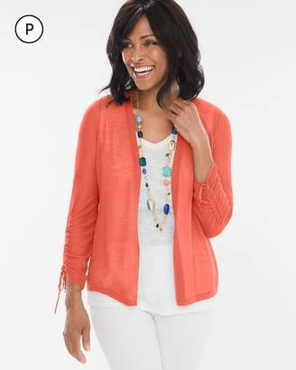 Petite Ruched-Sleeve Cardigan