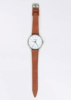 Nixon The Clique Leather Watch | Wildfang - The Clique Leather Watch - Silver/Brown - OS