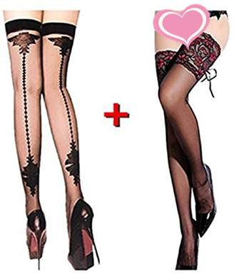 91e35502ae6 Bhwin Women s Lace Thigh High Sockings with Back Seam Heel Stockings