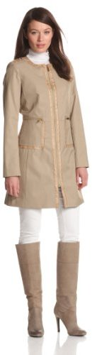 Via Spiga Women's Zip Front Spring Coat with Python Trim