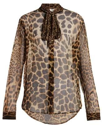 d633cef86c04c Saint Laurent Leopard Print Silk Georgette Blouse - Womens - Leopard