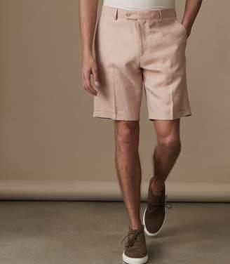 Reiss COSMOPOLITAN S SLIM FIT LINEN BLEND SHORTS Soft Pink