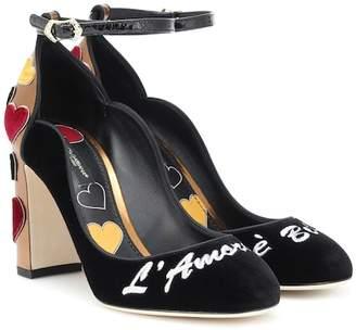 Dolce & Gabbana Vally embroidered velvet pumps