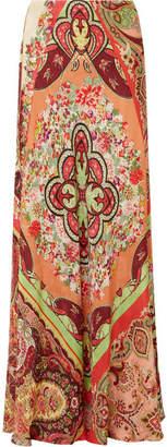 Etro Printed Satin-jacquard Maxi Skirt - Coral