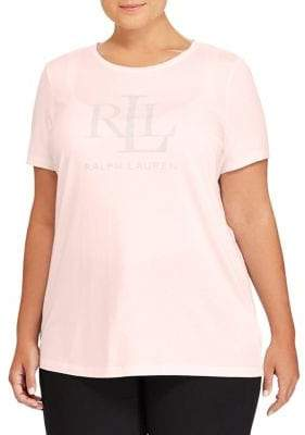 Lauren Ralph Lauren Plus Logo Cotton Blend Tee