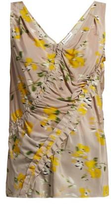 Altuzarra Selva Floral Print Silk Crepe Top - Womens - Beige Multi