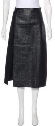 Jason Wu Wool & Leather Midi Skirt