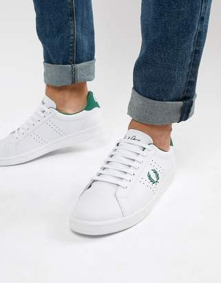 Fred Perry Leather Contrast Wreath Sneakers in White