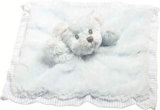 Suki Baby Hug-a-Boo Bear Finger Puppet Blankie with Striped Cotton Edge and Reverse Side (Blue)