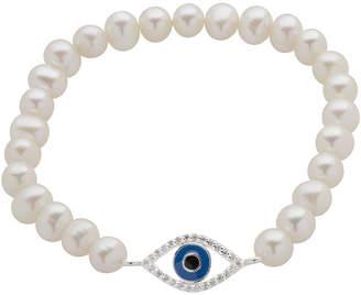 JCPenney FINE JEWELRY Cultured Freshwater Pearl Evil Eye Stretch Bracelet