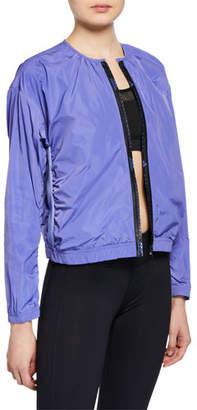 adidas by Stella McCartney Collarless Zip-Front Logo Track Jacket