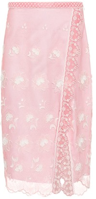 Burberry Floral-embroidered tulle skirt